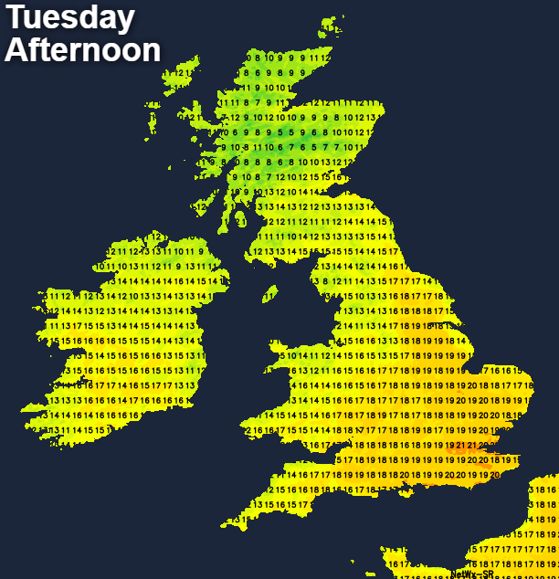 Temperatures on Tuesday afternoon