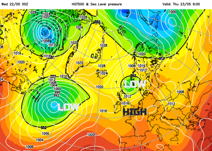 Pressure chart showing low to NE of UK and high to south