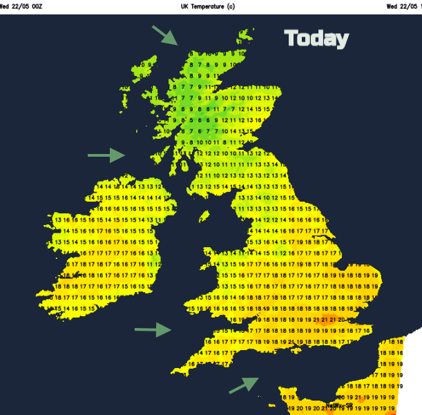 Temperature map for UK today
