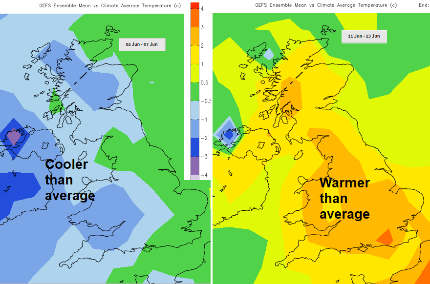 Cooler spell this week, after warm weekend, warmer mid June graphic