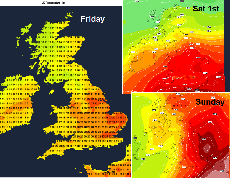 Heat building for this weekend. mainly England