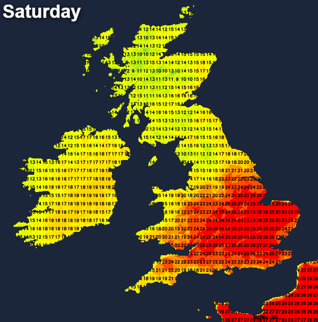 Very warm in the south on Saturday