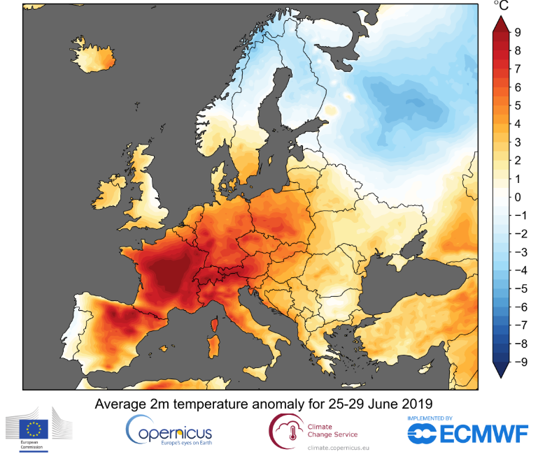 End of June Europe temperature map