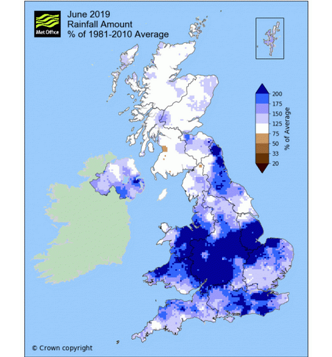 June 2019 monthly rainfall amounts