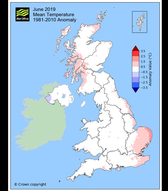 Met Office June 2019 temperature chart