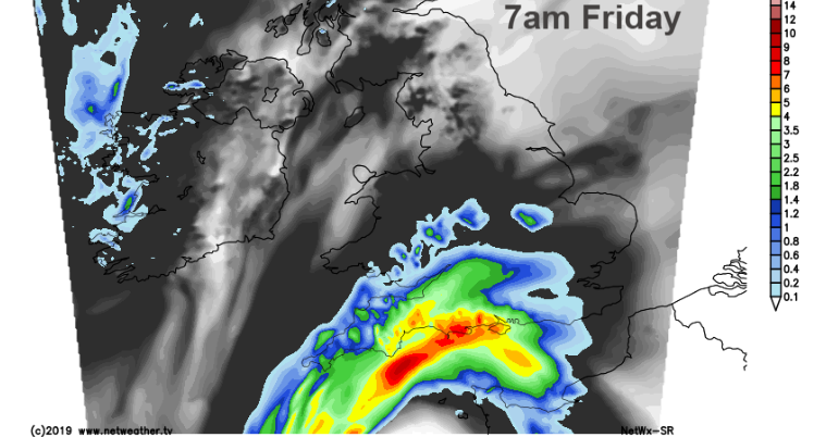 Early rain in Channel early Friday
