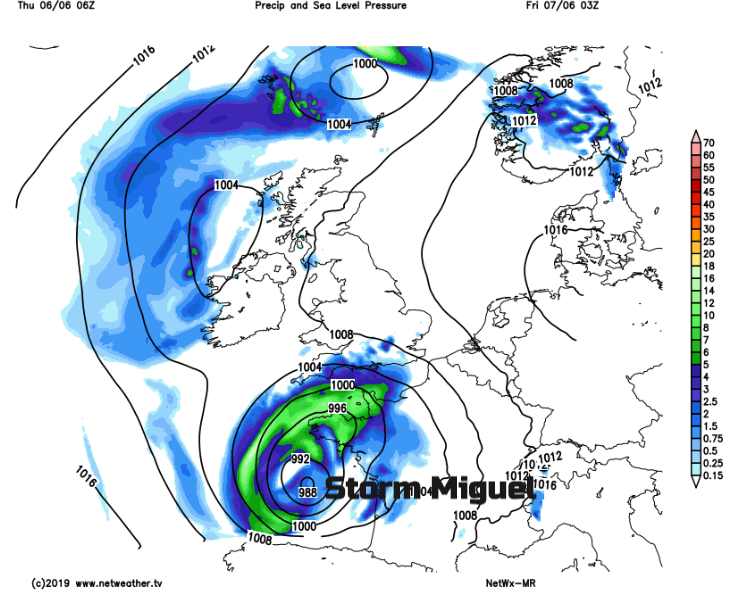 Pressure chart of Europe FRiday showing low Miguel
