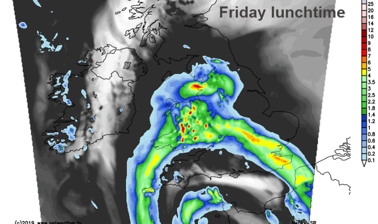 Rainfall chart for Friday lunchtime