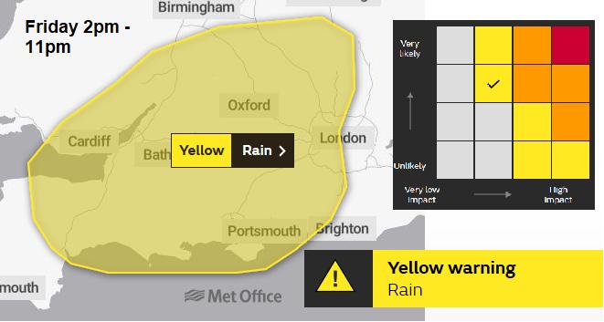 Met Office yellow rainfall warning