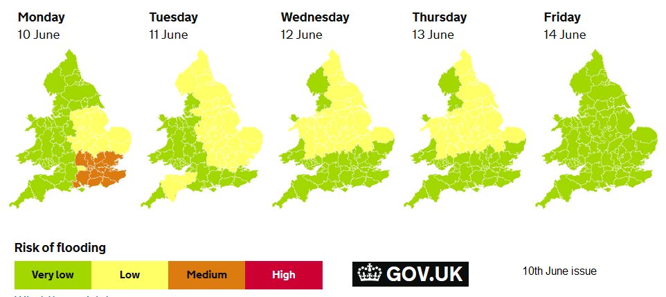 Five day flood forecasts