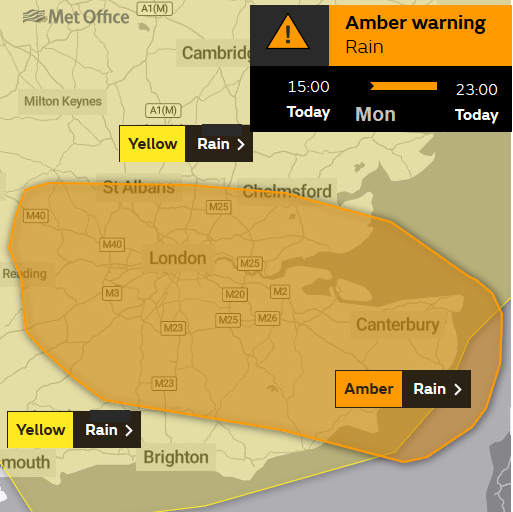 Amber warning for heavy rain SE