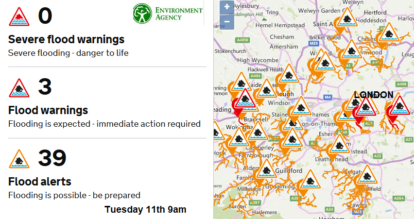 Flood warnings London map