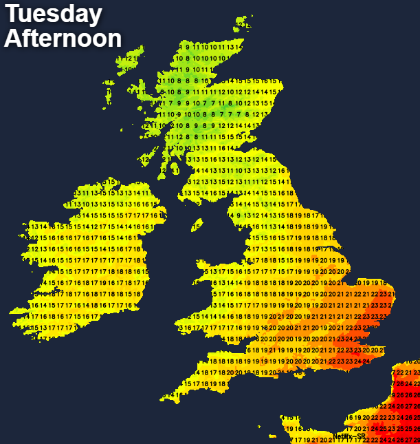 Temperatures on Tuesday afternoon - perhaps 25c in the southeast