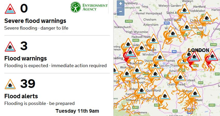 Flood warnings London map