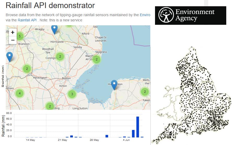 Rain gauge monitoring information map