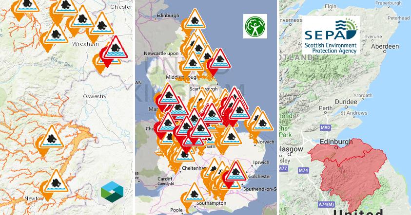 Floodwarnings across Britain