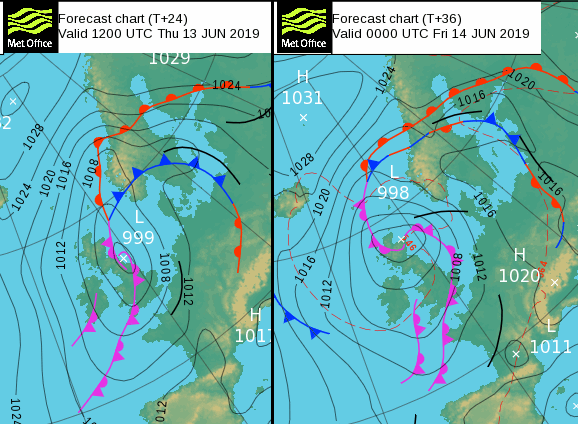Surface pressure pattern today and tonight