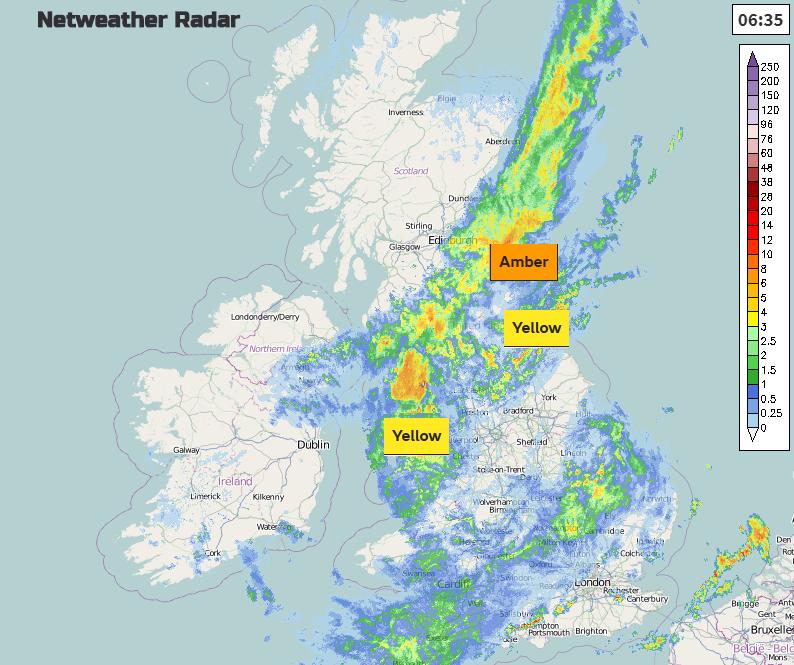 Radar image of UK