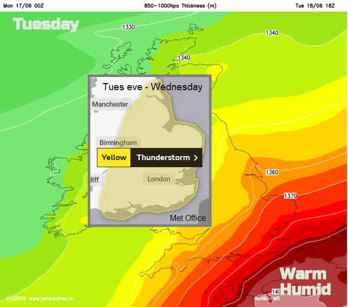 Warm humid air for SE Tuesday with Thudnerstorm warning