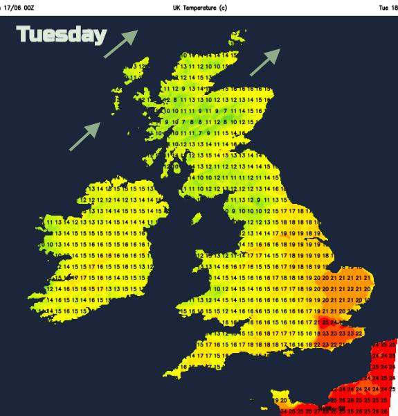 Tuesday temperatures UK