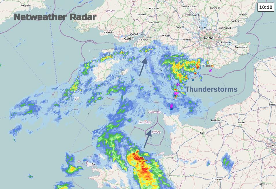 Netweather radar thunderstorm rain lightning