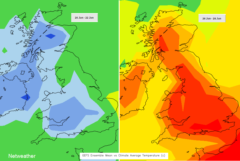 Much warmer than average temperatures next week