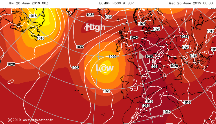 ECM chart showing warmth for early next week