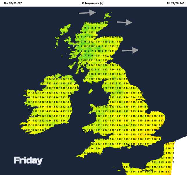 UK temperatures Friday