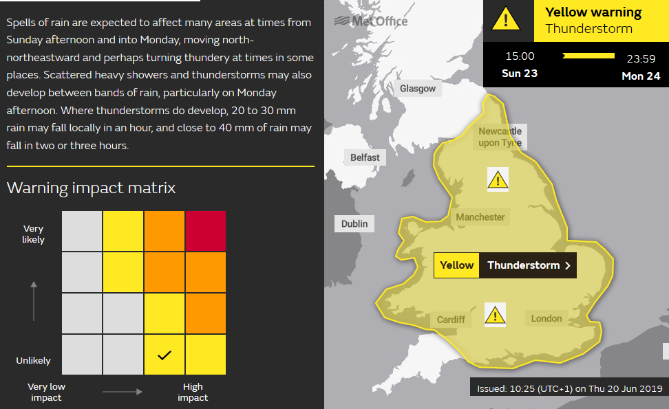 Met Office weather warning Thunderstorms