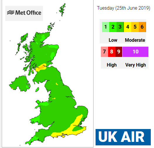 DEFRA air quality map UK