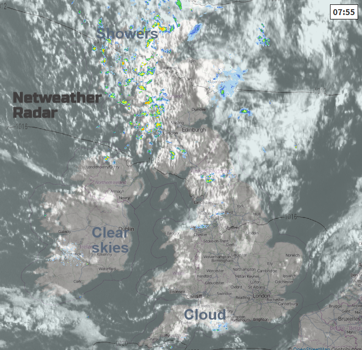 UK radar with visible satellite