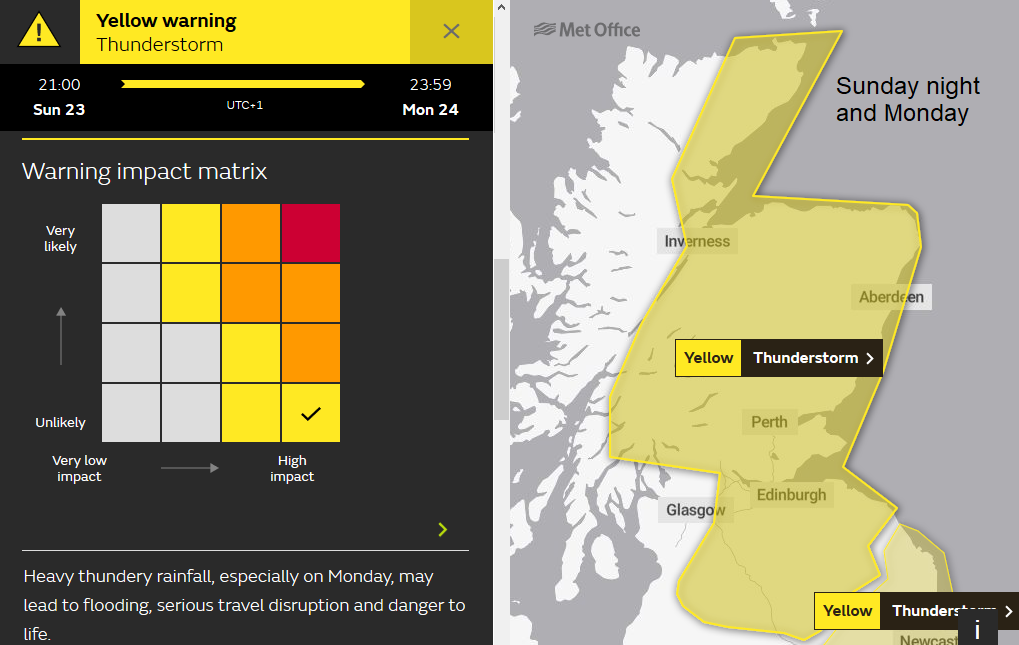 Met Office weather warning Thunderstorms Scotland