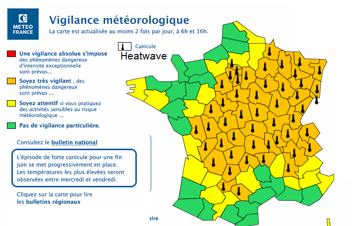 Heatwave warnings for France MeteoFrance
