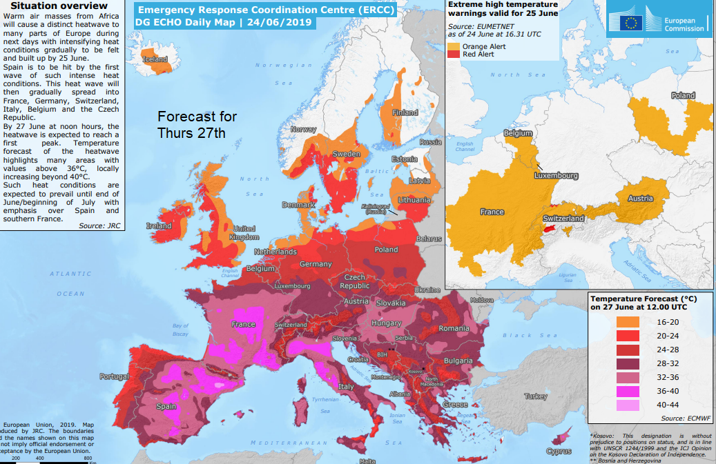 EU emergency response cordination centre heatwave map
