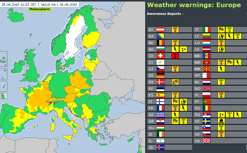 Meteoalarm heatwave warnings Europe