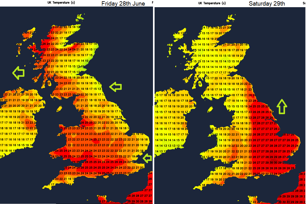 UK temperatures Friday Saturday June