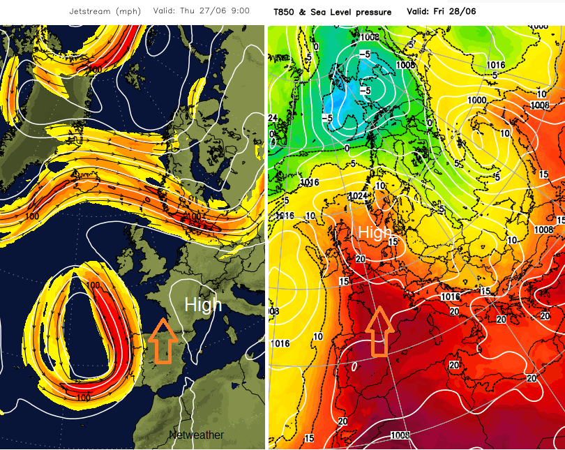 Jetstream and thickness chart