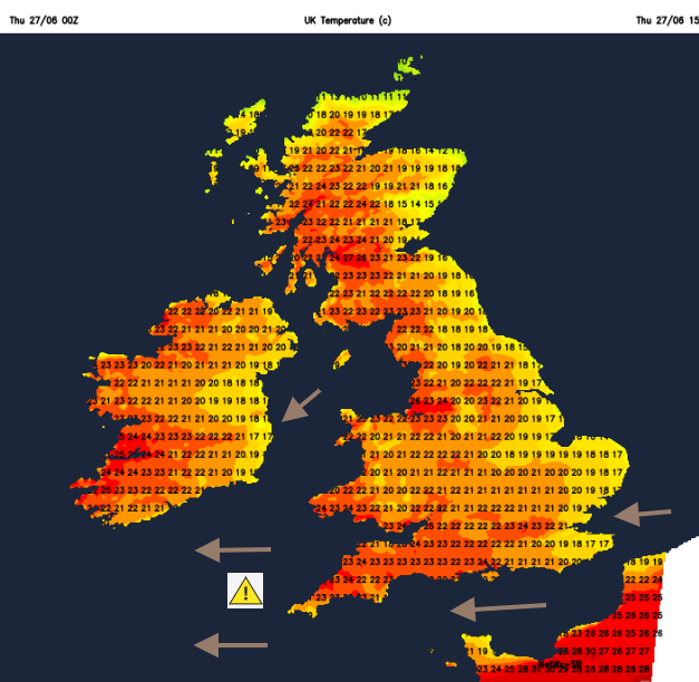 UK temperature map with winds