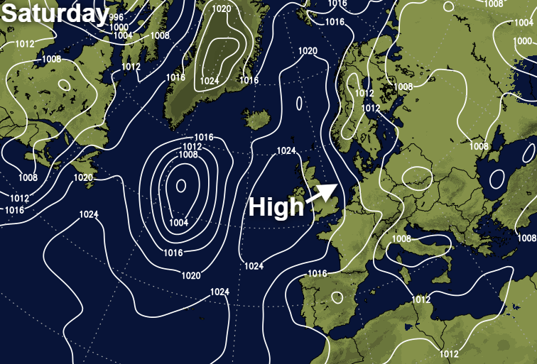 High pressure moving in from the west this weekend
