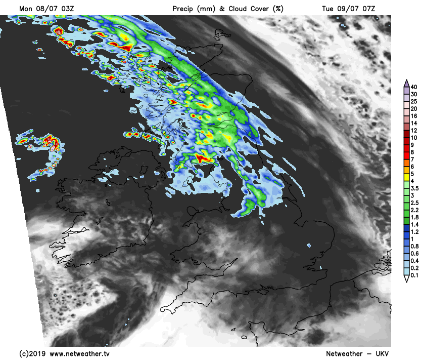 Rain across northern Britain on Tuesday morning