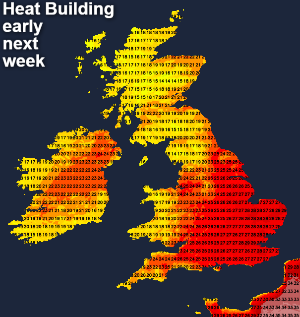 Heat building early next week