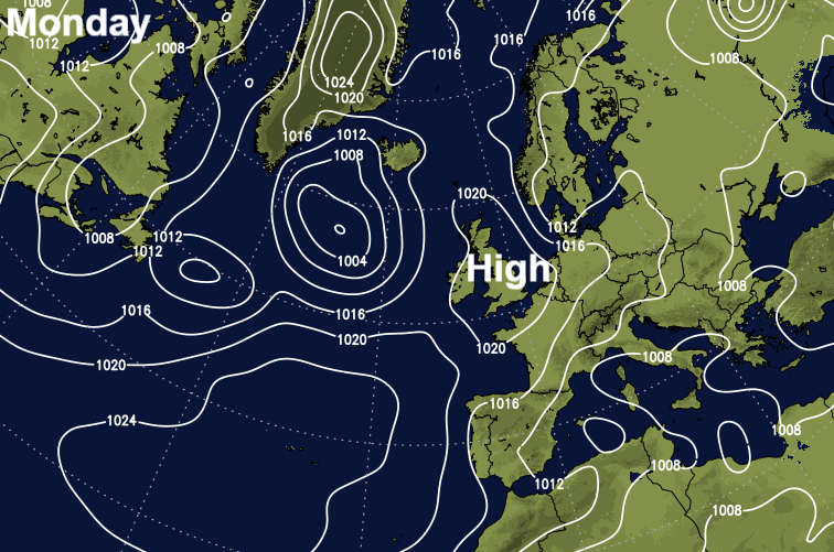 High pressure over the UK today (Monday)