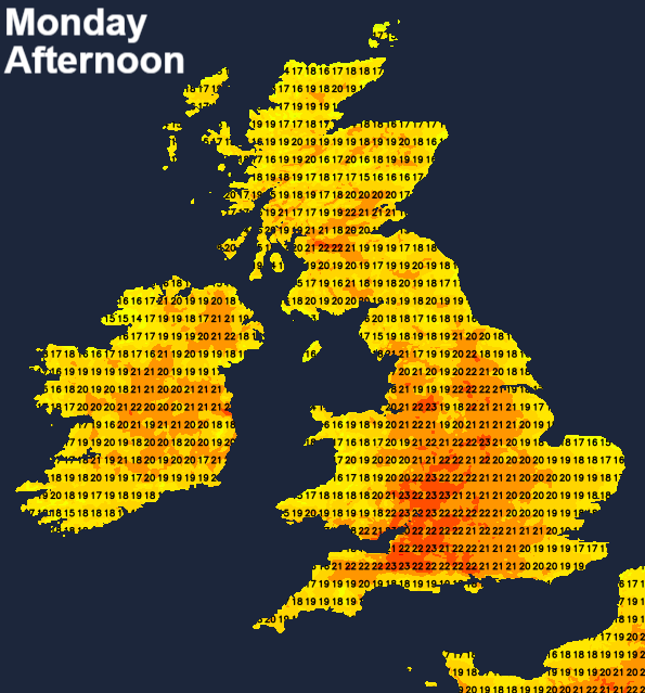 Temperatures on Monday afternoon