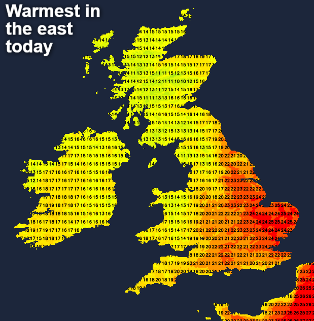 Warmest in eastern areas today