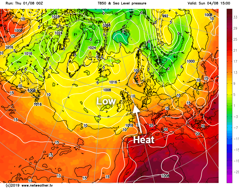 Low pressure to the west bringing heavy rain and also some heat on Sunday