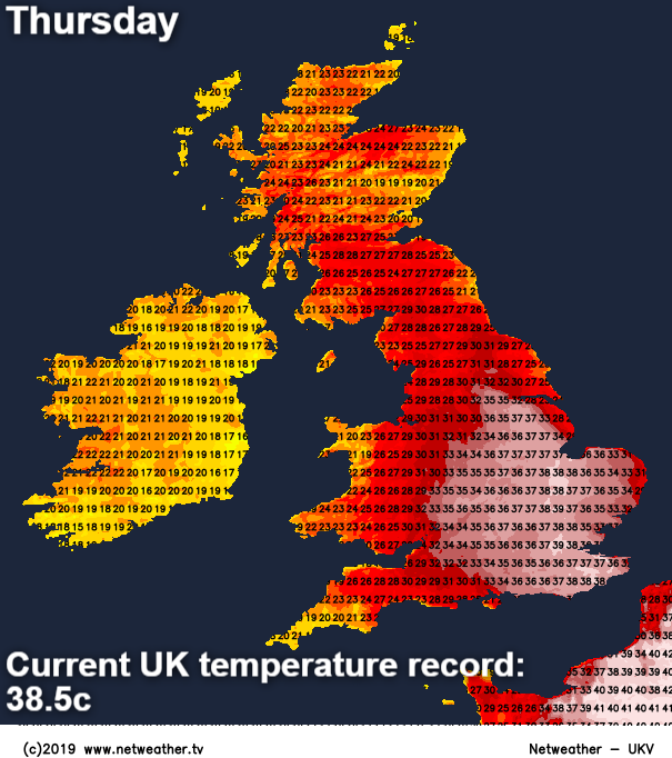 UK temperature record of 38.5c is under threat on Thursday