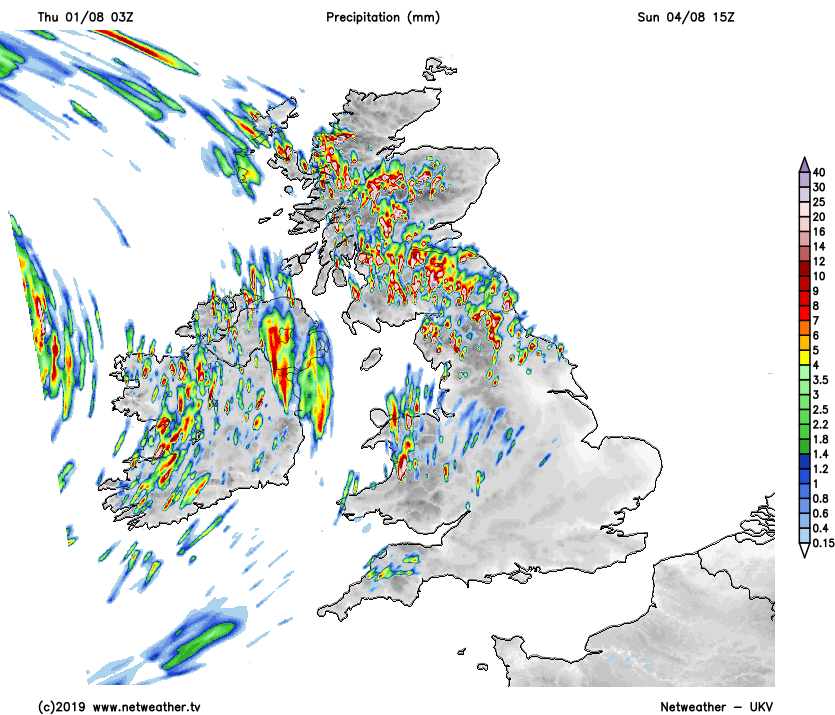 Heavy showers in the north and west on Sunday