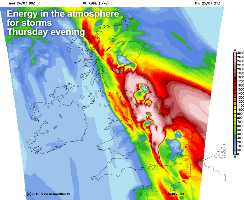 Lots of energy in the atmosphere for storms on Thursday evening - CAPE
