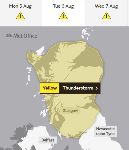 Thunderstorm warning Scotland