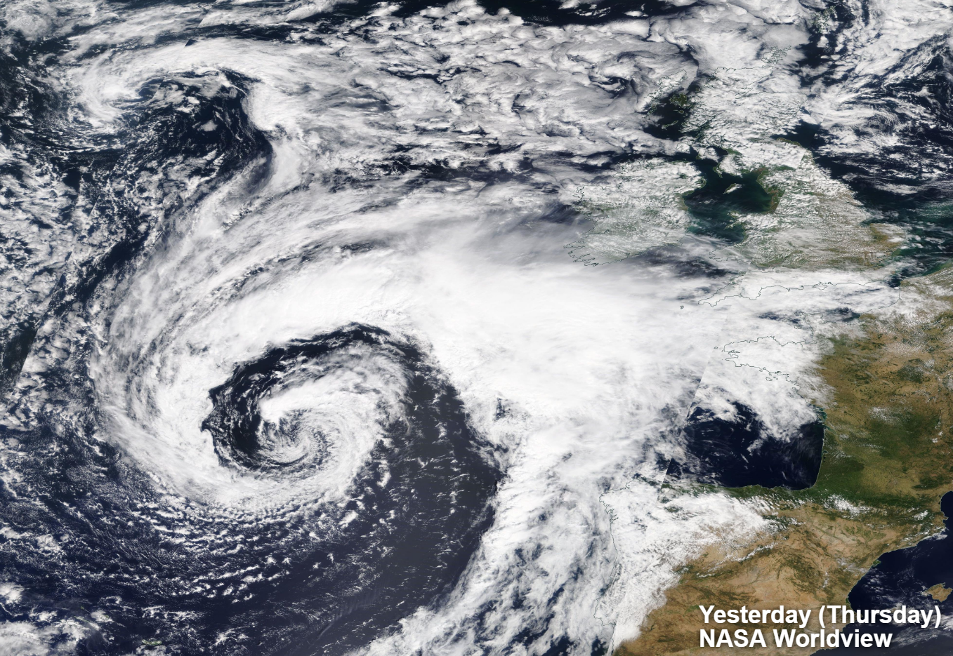 NASA worldview satellite image of the low pressure system yesterday